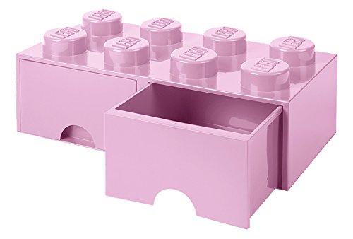 Lego Brick Schublade 8Knöpfe, 2Schubladen, stapelbar Aufbewahrungsbox, 9,4l, Light Pink, 222–Licht Violett (Licht Aufbewahrungsbox)