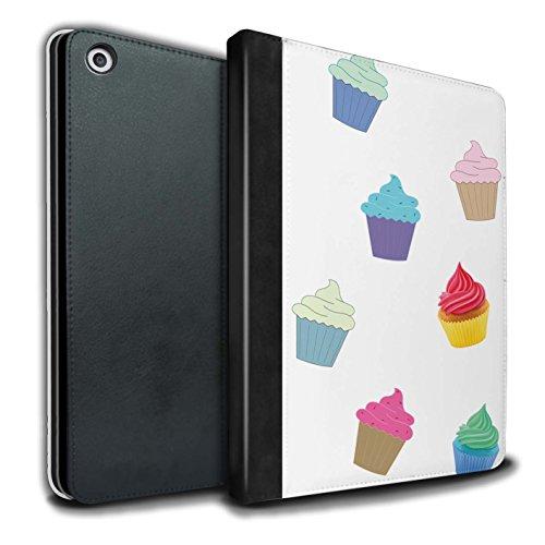 STUFF4 PU-Leder Hülle/Case/Brieftasche für Apple iPad 9.7 (2017) tablet / Cupcake Muster / Stück Lebensmittel Kollektion