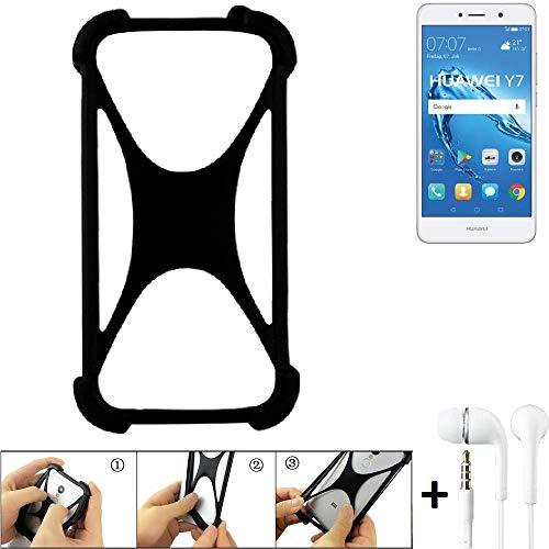K-S-Trade Handyhülle für Huawei Y7 Dual SIM Schutzhülle Bumper Silikon Schutz Hülle Cover Case Silikoncase Silikonbumper TPU Softcase Smartphone, schwarz (1x), Headphones