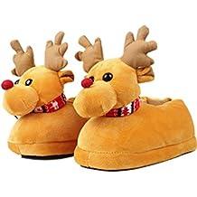 7af103d84da2a SOMESUN Noël Elk Chaussons Femme Peluche Coton Accueil Chaussons Hiver  Chaud Intérieur Noël Chaussons Pantoufles
