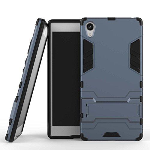 Z5 Premium Case, 2 in 1 Neue Armour Tough Style Hybrid Dual Layer Rüstung Defender PC Hartschalen mit Standfuß Stoßfestes Gehäuse Für Sony Z5 Premium ( Color : Blue Black , Size : Z5 Premium ) Blue Black