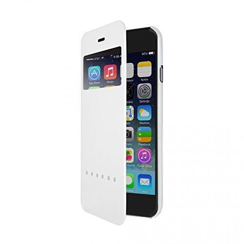 Ozaki OC558BK 0.3 Folio - stylische, dünne Klapp-Tasche aus widerstandsfähigem Kunstleder für das Apple iPhone 6 / 6S  - schwarz weiß/weiß
