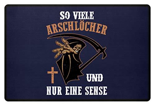 Kostüm Arschloch - PlimPlom So Viele Arschlöcher Und Nur Eine Sense Fußmatte - Ich Hasse Menschen Sensenmann - Fußmatte -60x40cm-Dunkel-Blau