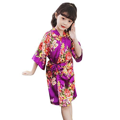 achthemd Kleidung Kimono Roben Bademantel Baby Kind Mädchen Blumendruck Nachtwäsche 2-8 Jahre(B/Lila,5-6 Jahre=10) ()