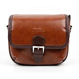 DURAGADGET Small Brown PU Leather Satchel Carry Bag with Customisable Inserts for the Aoleca 4K Ultra HD Wide Angle Sports Action Camera