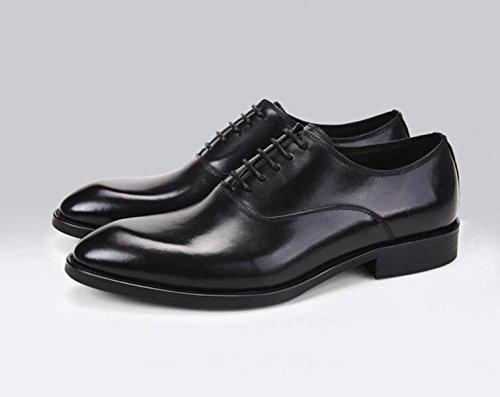 GRRONG Herren Lederschuhe Formelle Kleidung Geschäftsspitz Schwarz Black