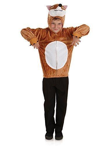 Jungen Mädchen Fantastic Mr Fox Kapuzentop Animal Welttag Des Buches Kostüm Verkleiden Outfit - Braun, 4-6 Jahre (110-116)