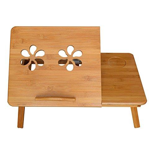 MERVY - LA MOINS CHERE D'AMAZON ! Table de lit pliable pour PC portable/notebook + tiroir. Plateau de petit déjeuner - le petit déjeuner au lit.Table d'ordinateur portable pour le lit / pour canapé, Ajustable, Support pour ordinateur portable, en bois,...