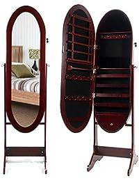 soges 48 * 37 * 156cm Espejo de Cuerpo Entero con Espejo Gabinete de pie Espejo de Ajuste con Llave Organizador de la Caja de Almacenamiento L016