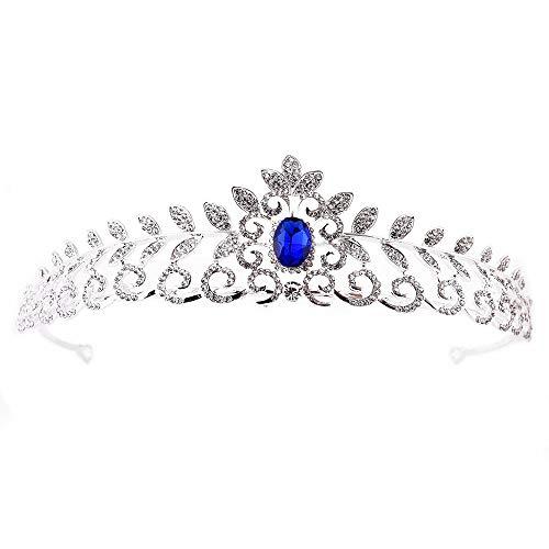 Braut Krone Brautkrone Kristall Crown Princess Crown Geburtstagsgeschenk Hochzeitskleid Zubehör Königin Krone (Color : Blue, Size : 15.5 * - Blue Star Princess Kostüm