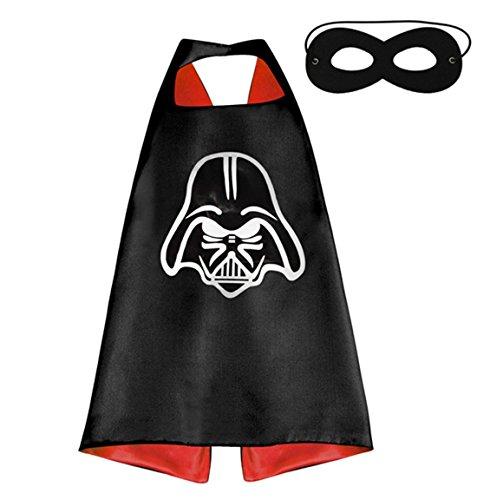 Ducomi® Superhelden-Kostüm mit Kapuze und Umhang - Unisex und Kinder 3 bis 10 Jahre (Darth Vader)