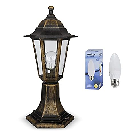 Vintage Style Brushed Bronze Black Outdoor Garden Lantern Style Light Post Lamp - IP44 Rated - Complete With 1 x 4w LED Bulb