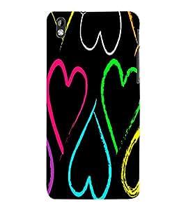 ColourCraft Love Hearts Design Back Case Cover for HTC DESIRE 816