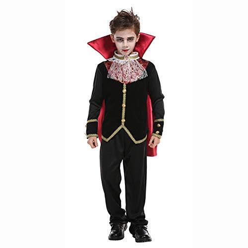 CYGGA Dracula Vampirkostüm Kostüm Set Vampir Kinder Halloween Karneval 116-176 Rot/Schwarz,M (Dracula Kostüm Für Jungen)