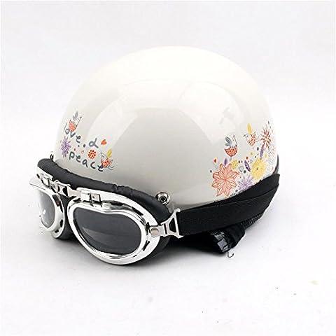 auto elettrica Retro fiore Harley casco da moto inverno del casco casco mezzo casco uomini Four Seasons generale ( colore : #2 )