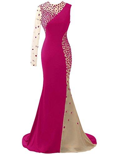 HUINI Damen Modern Kleid Fuchsia
