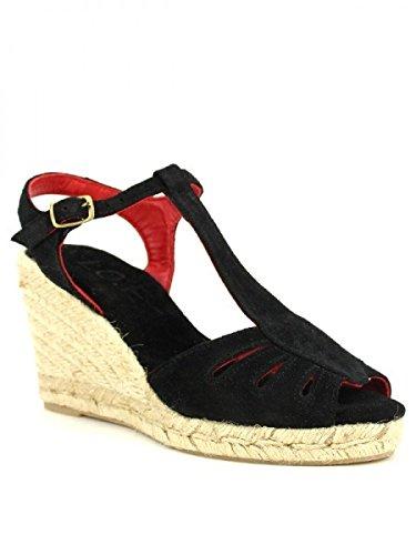 Cendriyon, Compensée Espadrille Noire ARIO CUIR Chaussures Femme Noir
