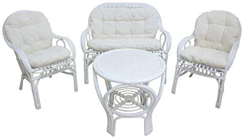 Set completo salotto sole in vimini bambù rattan e giunco bianco divano poltrone tavolo