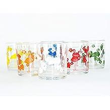 takestop® - Juego de 6 Vasos flamencos Colores con Flores de Cristal Flamenco de Mesa