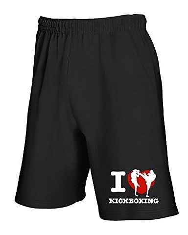 Cotton Island - Pantalons de survetement courts TAM0052 i love kick boxing dark tshirt, Taille S