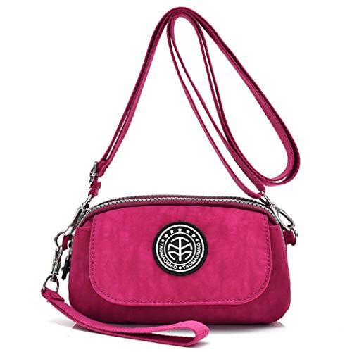NUGJHJT Lässige Nylon wasserdichte abnehmbare Schultergurt Tasche Frauen Handy Geldbörse Handgelenk Tasche (Farbe : Rose rot, größe : 18 * 6 * 11cm) (Taschen Schultergurt Frauen)