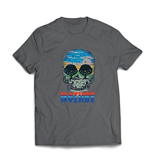 Männer T-Shirt der Natur-Schädel - retten Sie den Planeten, stützen Sie wild lebende Tiere (Small Graphit Mehrfarben)