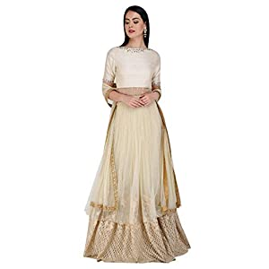 Amaira Cream and Gold Embroidered Anarkali Lehenga Set
