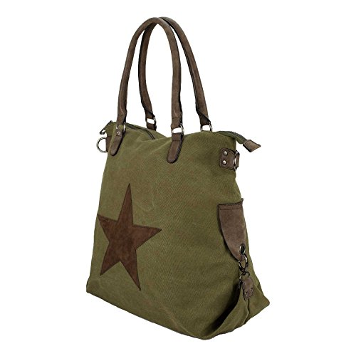 Starbag, borsa shopper in tela, motivo: stelle, 45x 37 cm(larghezza x altezza) esercito