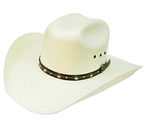 Modestone 50X Taditional Bangora Rodeo Breezer Straw Chapeaux Cowboy White