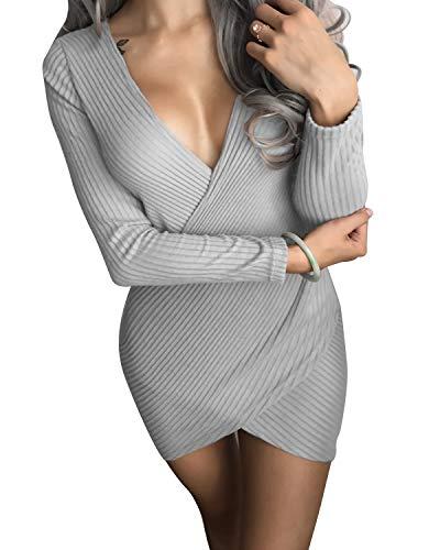 Bademode Damen Kleid Sexy Criss Cross Wrap Front V-Ausschnitt Langarm, figurbetontes Kleid Bikinis (Farbe : Grau, Size : L) (Criss-cross-ausschnitt Kleid)