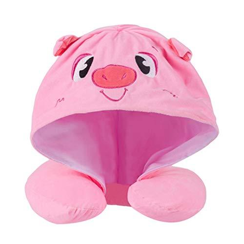 Binpure Cartoon Animals Reisekissen mit Kapuze, große Hut, Tiefe Erholung, Augenmasken zum Schlafen bei Nacht, für Reisen, Schichtarbeit Rosa, Schwein