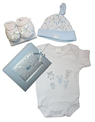 Newborn PINK or BLUE Baby Gift Set with Bodysuit, Booties, Hat, Photo Album. 0 - 3 Months. (Blue)