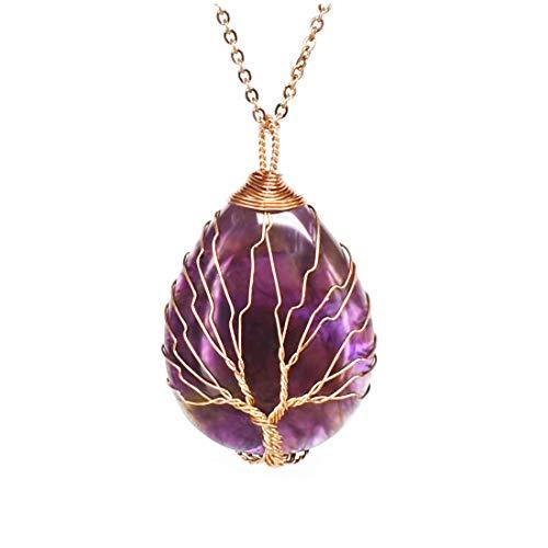 Ulgai collana in cristallo avvolto albero della vita, pendente in pietra preziosa naturale a goccia vintage, collana curativa con scelte multiple