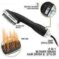 SEXTT Multi-función 2 en 1 Aire Caliente Peine eléctrico húmedo y seco Pelo Curler