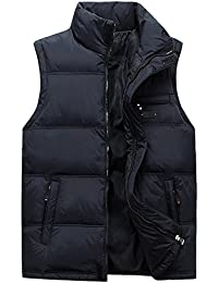 BOZEVON Invierno Moda Chaleco para Hombre de Pluma Sin mangas Plumón Chaqueta Ligera Capa chaqueta abajo