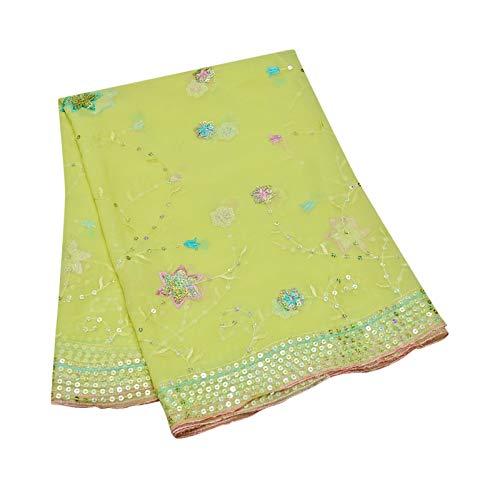 PEEGLI Frauen Indische Pailletten Schals Designer Party Wear Grün Hijab Jahrgang Ethnische Georgette Mischung Nähen Stoff Blumenmuster Dupatta -