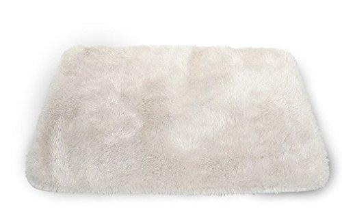 Badematte Badezimmer Teppich Kuscheliger Hochflor Rutschfester Badematten 50x70 microfaser 60 x 90 Einzeln Badteppich Waschbar, Creme