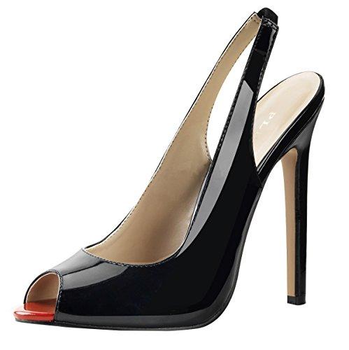 Peep toe escarpins pour femme noir noir Noir - Noir