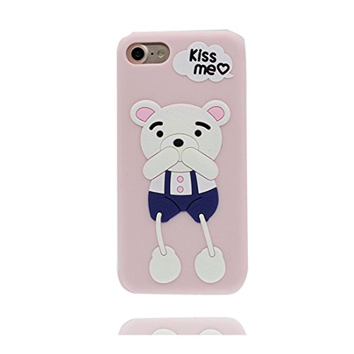 iPhone 7 Custodia, iPhone 7 Copertura 4.7, TPU durevole Case Cartoon 3D Cover & penna di tocco - Cartoon rosa orso bear ( Per iPhone 7 ) / Flessibile / alla moda / resistente alla polvere rosa