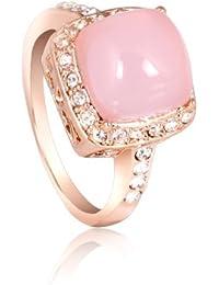 FASHION PLAZA Femme Plaqué Or Or18 Carats beaucoup de Swaroski Cristal Opale Rose Clair Bague de fiançailles R308 (Taille 52)
