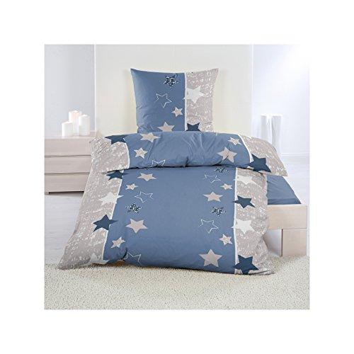 4 tlg. Microfaser Fleece Bettwäsche mit Reißverschluss aus 100% hochwertigem Polyester 140x200 cm Blau mit Sterne