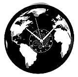 Horloge Murale en Vinyle Cadeau Fait Main Décorations Pour la Maison Home Office Monde Voyage Travel Tour