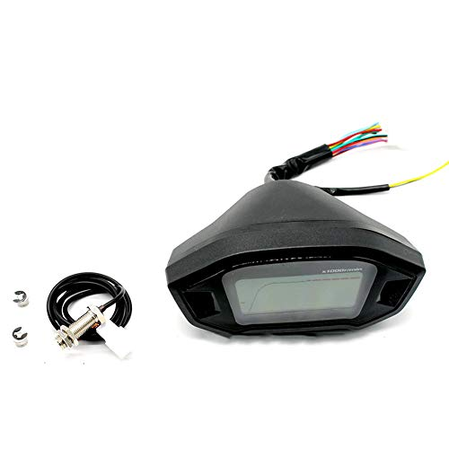 SAXTEL Kilometerzähler, langlebig, Universal-Ersatz-LCD-Tachometer, Hintergrundbeleuchtung, praktische Nachrüstung, professionelles Zylinder-Messgerät, Zubehör für Motorräder, einfache Installation -