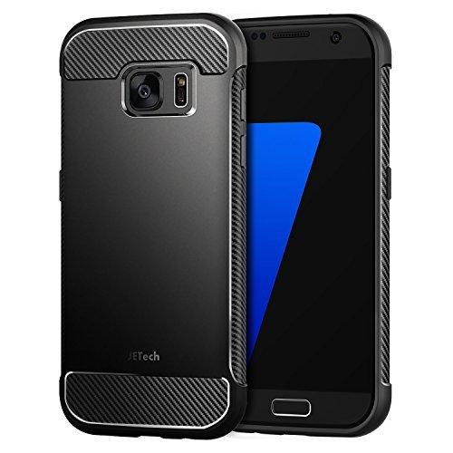 JETech Samsung Galaxy S7 Hülle Case Tasche Schutzhülle mit Stoßdämpfung und Carbon Faser (Schwarz) - 3442