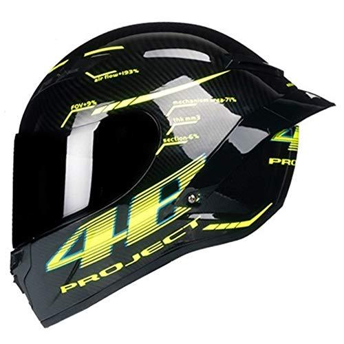 HIN GU-Cycling helmet Casco Integrale in Fibra di Carbonio, Casco da Moto Professionale da Corsa, Colore Arcobaleno, per Fuoristrada, Gloss 1, Medium
