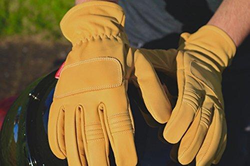 Guantes Vintage de Cuero con Kevlar para Moto Amarillo Mostaza † THROTTLESNAKE - PIT VIPER † Mustard Yellow Old School Motorcycle Leather & Kevlar Racing Gloves (M)