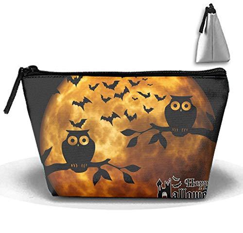 Multifunktionale kleine Hand Trapez Strorege Reisetasche Kosmetiktasche (Happy Halloween Vollmond)