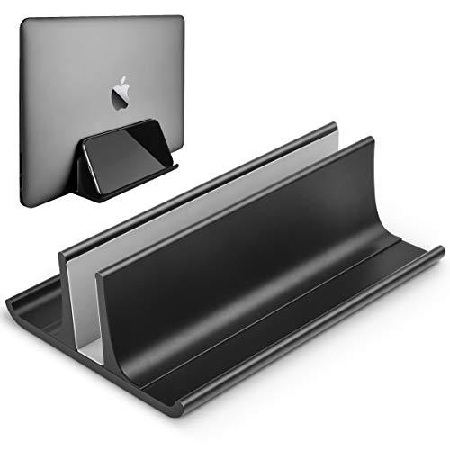Honkid Vertikaler Laptop Ständer, Verstellbarer Vertikalen Laptopständer Platzsparender StänderTischständer, Kompatibel iPad Pro/MacBook Air/Pro/Surface Pro und anderes Laptop Notizbuch,Schwarz -