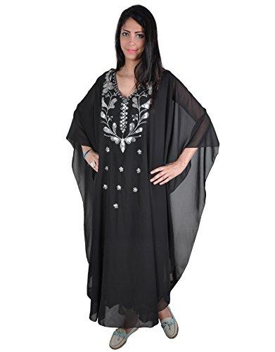 Abaya Festkleid aus Chiffon, Einheitsgröße: M bis XXXL, in Verschiedenen Farben (Schwarz/Silber)