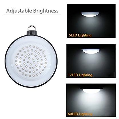 Justech 60 LED Lanterna da Campeggio Lampade a Sospensione LED – Esterno/Interno Luci Super Luminoso Intensità Luminosa LED per Camp/Decorazione/Lettura/Giardino Luce/Illuminazione Emergenza